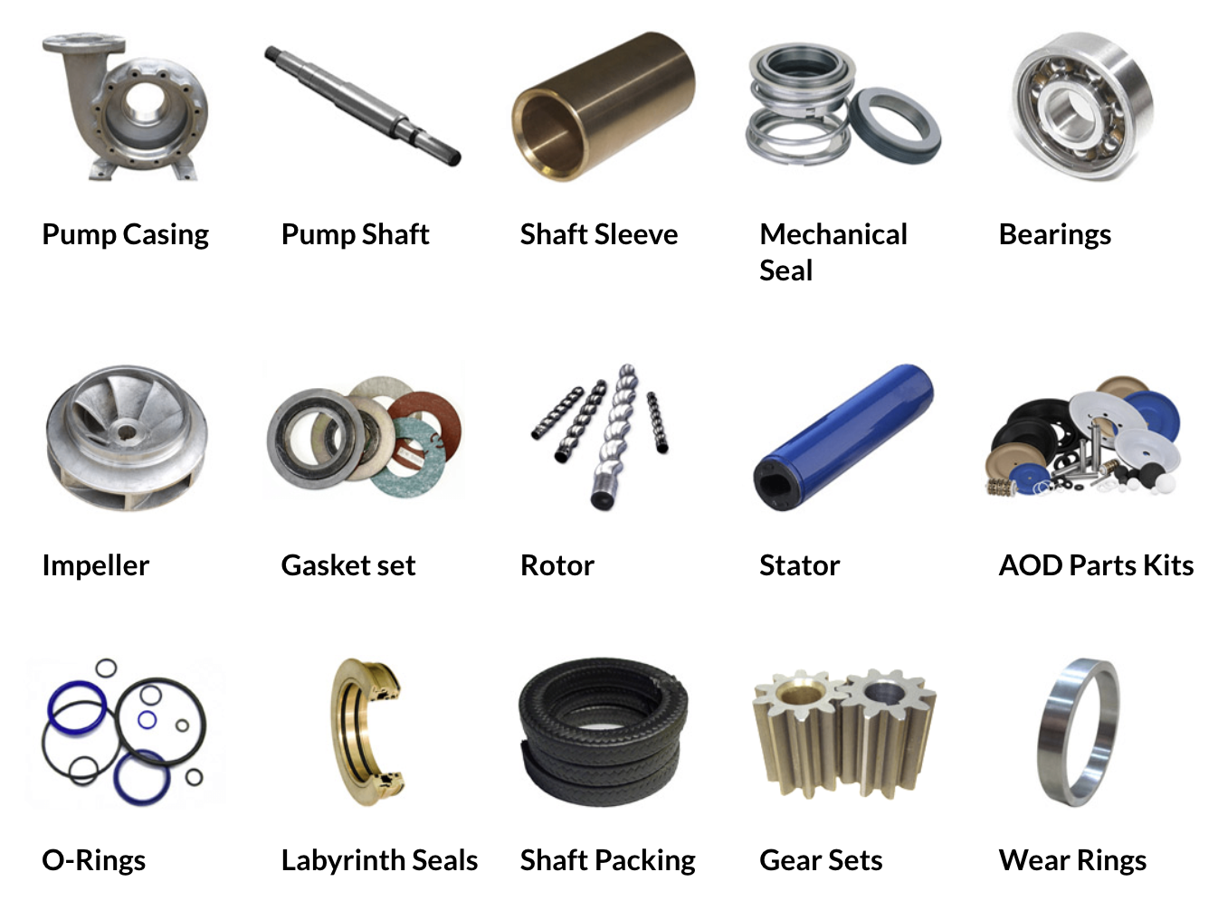 industrial pump replacement parts